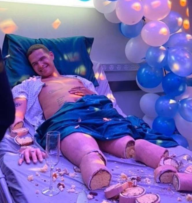 Image result for Man on hospital bed turns out to be cake