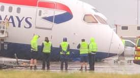 British Airways Plane's Nose Collapses On Tarmac At Heathrow Airport