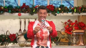 Holly Willoughby Gives Gino D'Acampo 'Willy Warmer' For Christmas