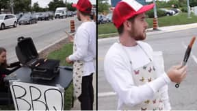 Man Barbecues Hot Dogs Outside Animal Rights Protest