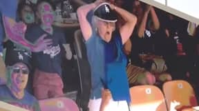 Granny Flashes Crowd After Getting On The Big Screen At Baseball Game