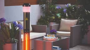 Aldi Is Selling A Patio Heater With A Bluetooth Speaker And Coloured Lights