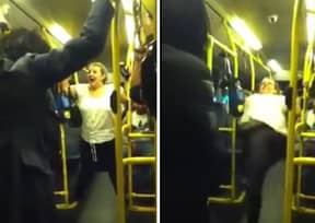 Racist Woman Falls On Her Arse After Launching Racist Attack On Lad