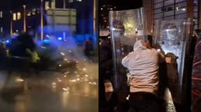 Bristol Protestors Launch Fireworks At Police Horses