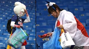 Japan Fans Stay Behind To Tidy Stadium After Being Knocked Out Of World Cup