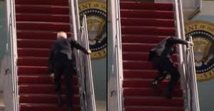 President Joe Biden Falls Down Stairs While Boarding Air Force One