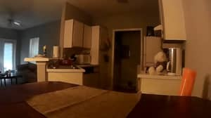 Man Looking To Leave His Apartment After Catching Ghostly Movements On Camera
