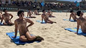 Forty Men In 'Maskinis' Crash Bondi Beach In Borat 2 Stunt
