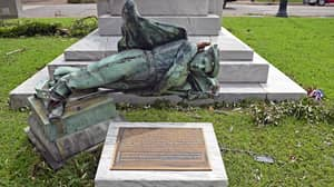 Hurricane Laura Blows Down And Destroys Controversial Confederate Statue