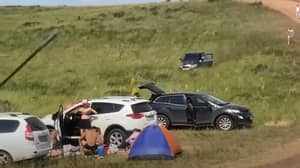 Picnickers Have Narrow Escape As Runaway Car Speeds Down Hill Towards Them
