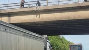 Heroic Lorry Driver 'Saves Man's Life' By Stopping Under Motorway Bridge