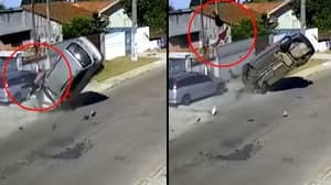 Car Thief Somersaults Through Air As He's Ejected When Driver Loses Control