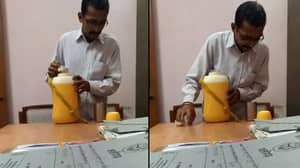 Office Worker Caught On Camera Spitting In Manager's Drink