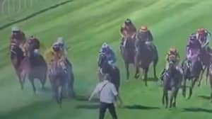 Horses Narrowly Avoid Man After He Invades Racecourse At Wellington Cup