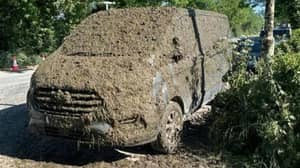 Van Covered In Slurry After It Was Parked Blocking Access For Farmers