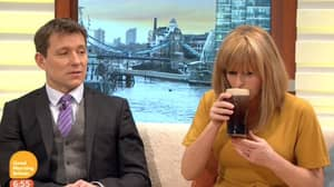 ITV's Kate Garraway Downs A Pint Of Guinness Live For St Patrick's Day
