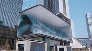 Giant Billboard Creates Illusion Of Wave Crashing On South Korean Building