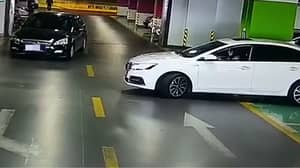Driver Reverses Into Maserati, BMW And Audi Getting Out Of Parking Space