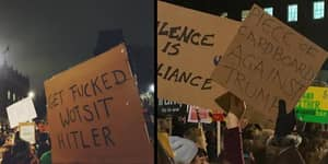 There Were An Awful Lot Of Very British Signs At Protests Last Night