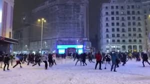 Police In Madrid Break Up Huge Snowball Fight