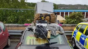 Police Stop 'Dangerous' Driver Who Crammed Car Full Of Junk