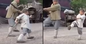 Incredible Video Shows Jackie Chan Learn Shaolin Fighting Techniques From A Kid