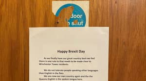 Racist 'Happy Brexit Day' Note Tells People To Only Speak English In Block Of Flats