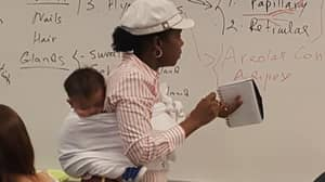 Uni Lecturer Carries Baby During Class After Student Couldn't Find A Babysitter