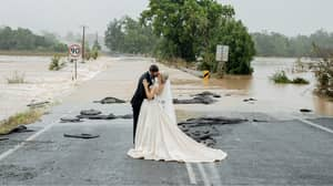 Couple Caught In Floodwaters On Wedding Day Get Airlifted To Ensure They Get Married