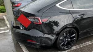 Man Shares Video Of Moment Bumper Flies Off Tesla