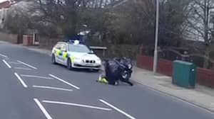 Shocking Footage Shows Motorcyclist Attacking A Police Officer