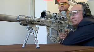 Vladimir Putin Achieves Three Successful 'Kill Shots' As He Uses Sniper Rifle