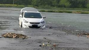 Man Drives Car Into A River Because His GPS Said So