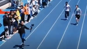 Student Cameraman Keeps Pace With 100m Sprinters In Viral Video