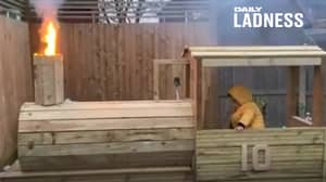 Dad Builds Son Massive Wooden Train With Working Steam Engine
