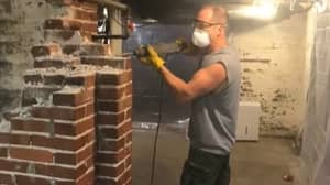 Dad Transforms Basement Into Nightclub With Bar Made From A Chimney