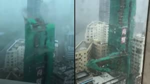Super Typhoon Blows Down Crane From 22 Storey Building In Hong Kong
