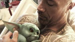 The Rock Snuggles With Baby Yoda And Trolls Kevin Hart In The Process