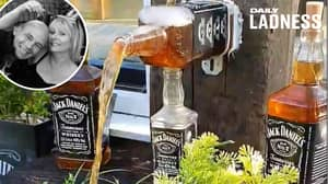 Guy Makes Amazing Jack Daniel's Water Feature For Garden While Drunk
