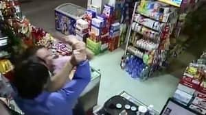 Corner Shop Boss Pins Knife-Wielding Robber To The Floor