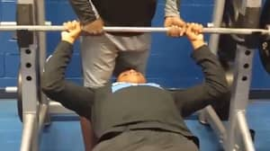 LAD Squeezes More Than Just His Muscles When Bench Pressing
