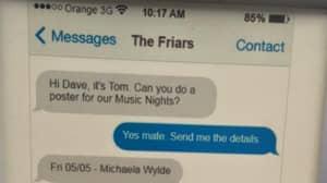 Designer Uses Text Conversation To Promote Pub Music Nights
