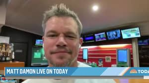 Matt Damon Does Interview With US TV Network From Aussie TAB With A Beer