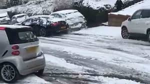 Mercedes Driver Causes Trail Of Destruction After Trying To Overtake In Icy Conditions