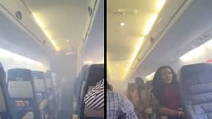Passengers Record Dramatic Scenes As 'Plane's Engine Catches Fire' Mid-Flight