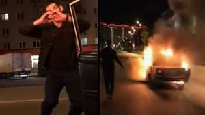 Guy Sets Moving Car On Fire In Street As Part Of Kiki Challenge