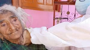 Woman Claiming To Be Oldest In The World Receives Covid-19 Jab