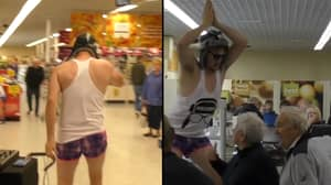 Man Storms Into Tesco And Performs 'Baby Shark'
