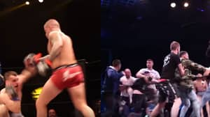 MMA Fight Ends In A Brawl After Controversial Kick From Fighter