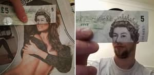 Lad Makes The Queen Look Like She's Pulling Faces With Old Five Pound Note